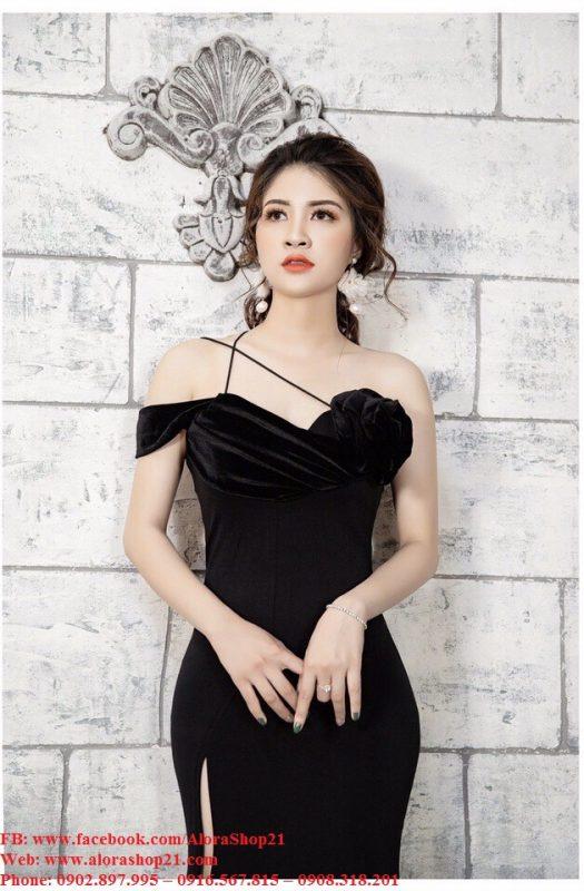 Đầm dạ hội thun kiểu hở ngực pha nhung xẻ tà - D459