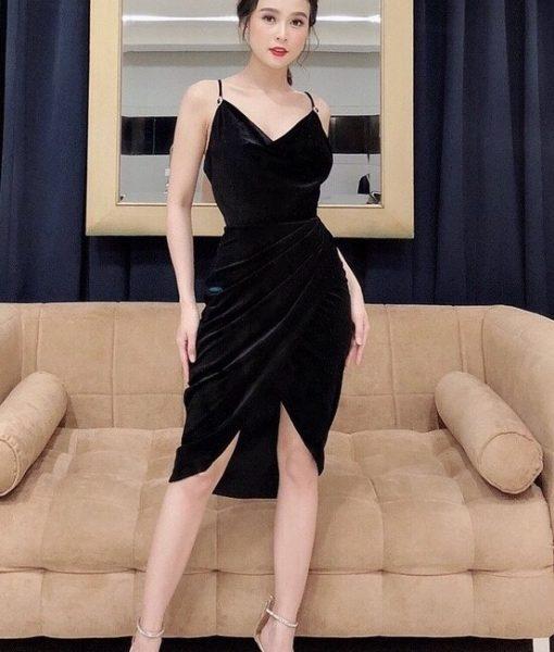 Đầm body nhung kiểu 2 dây chéo tà xinh xắn như Sam - DN461
