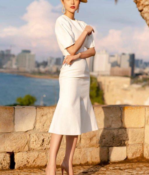 Đầm ôm body trắng kiểu tay con phồng đuôi cá - DN459