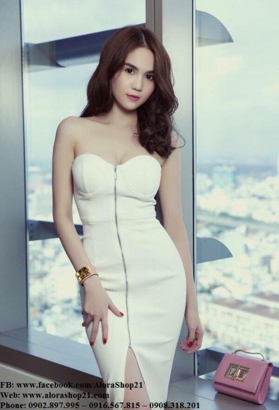 Đầm ôm body Ngọc Trinh kiểu cúp ngực xẻ giữa - DN462