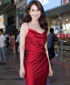 Set áo váy kiểu áo 2 dây phối chân váy phi- J97