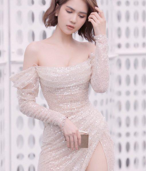 Đầm dạ hội dự tiệc thiết kế trễ vai tay dài như Ngọc Trinh - D470