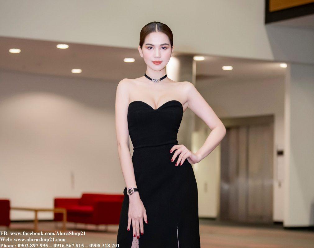 Đầm dạ hội đen kiểu cúp ngực xẻ tà phối lưới - D462