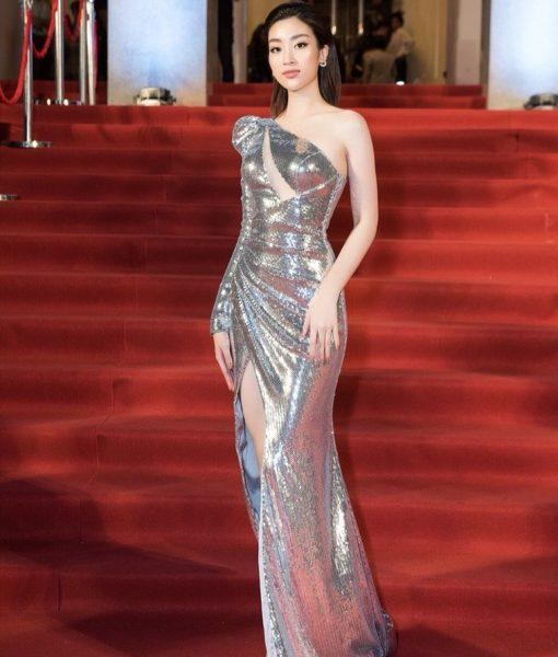 Đầm dạ hội kim sa lệch vai xẻ đùi cực đẹp - D464