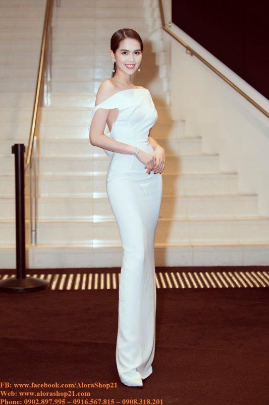 Đầm dạ hội kiểu lệch vai hở lưng chéo dây - D463