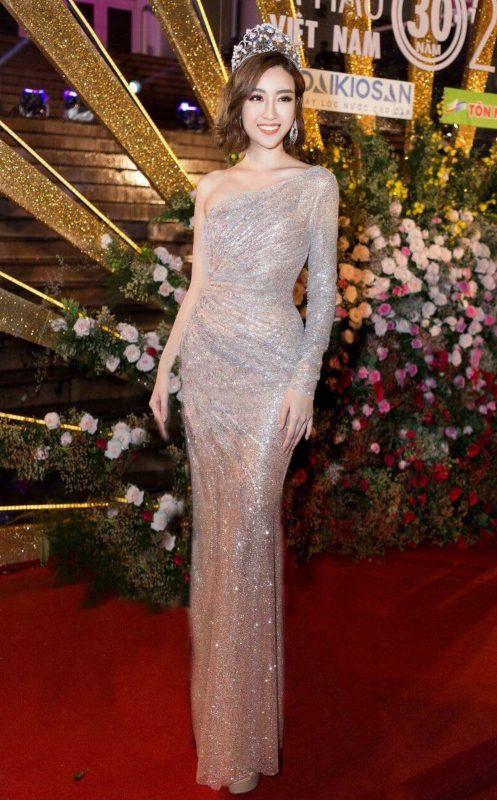 Đầm dạ hội kim sa thiết kế lệch vai tay dài sang trọng - D471