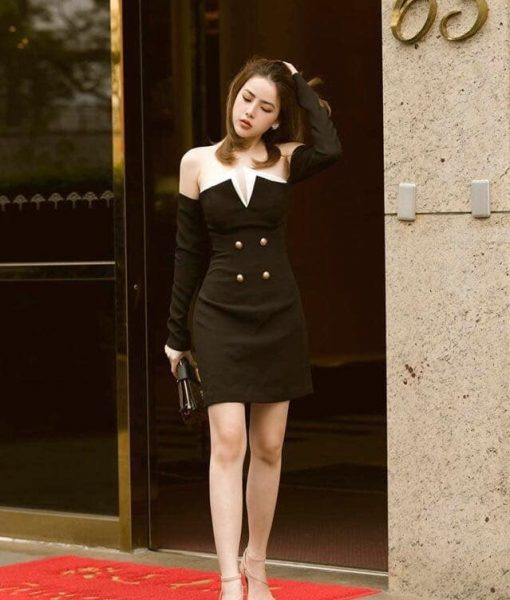 Đầm dự tiệc thiết kế kiểu bẹt vai gợi cảm - DN465
