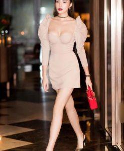 Đầm dự tiệc ôm body tay dài gợi cảm như Kỳ Duyên - DN464