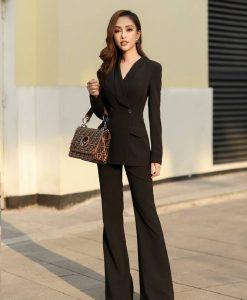 Áo quần kiểu áo vest tay dài quần suông - J102