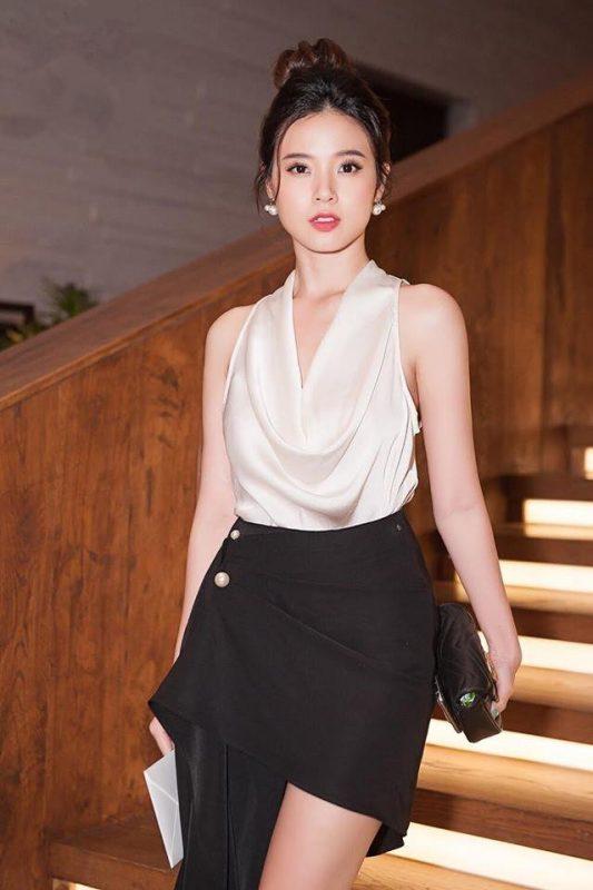 Áo váy kiểu áo cổ đỗ váy lệch kết ngọc trai - JN49