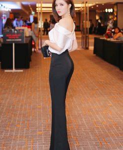 Bộ áo phi trắng trễ vai và quần ống suông đen tuyệt đẹp - J101