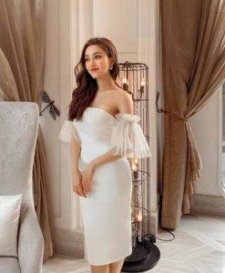 Đầm ôm body trắng kiểu cúp ngực tay lưới - DN467