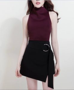 Set áo váy áo cổ lọ váy ngắn kèm phụ kiện vòng-JN51