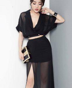 Set áo váy kiểu áo hở ngực sâu chân váy xẻ đùi - J112