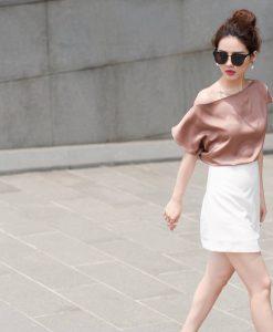 Set áo váy kiểu áo lệch vai váy ngắn quyến rũ - JN49