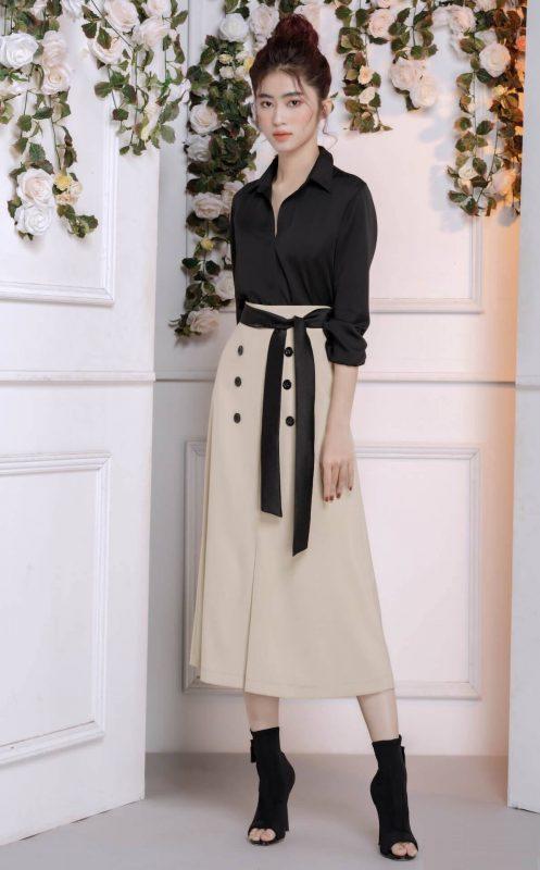 Set áo váy kiểu áo sơ mi và chân váy chữ A dài cột dây eo - JN54