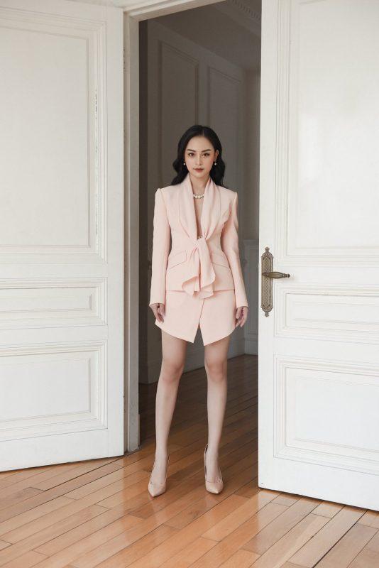 Set áo váy kiểu áo vest cột nơ ngực và váy ngắn - JN50