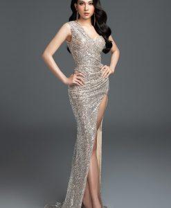 Váy dạ hội kim sa lệch vai xẻ đùi cao tôn dáng - D472