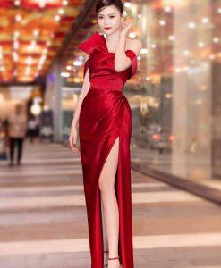 Đầm dạ hội bẹt vai xẻ đùi cao phối nơ sang trọng - D479