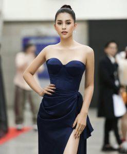 Đầm dạ hội lụa satin thiết kế cúp ngực xẻ đùi cao quyến rũ - D482