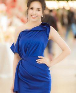 Đầm dự tiệc thiết kế xanh coban lệch vai nhún eo -DN474