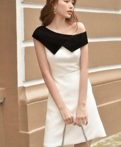Đầm dự tiệc trắng thiết kế lệch vai phối cổ đen tinh tế - DN478