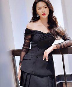 Đầm vest đen thiết kế tay lưới cao cấp sang trọng - DN477
