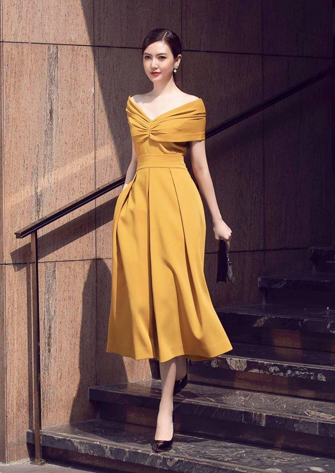 Đầm xòe bẹt vai thiết kế nữ tính sang trọng - DN475
