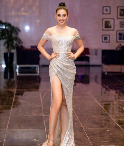 Váy dạ hội kim sa trễ vai xẻ đùi cao tôn dáng - D483