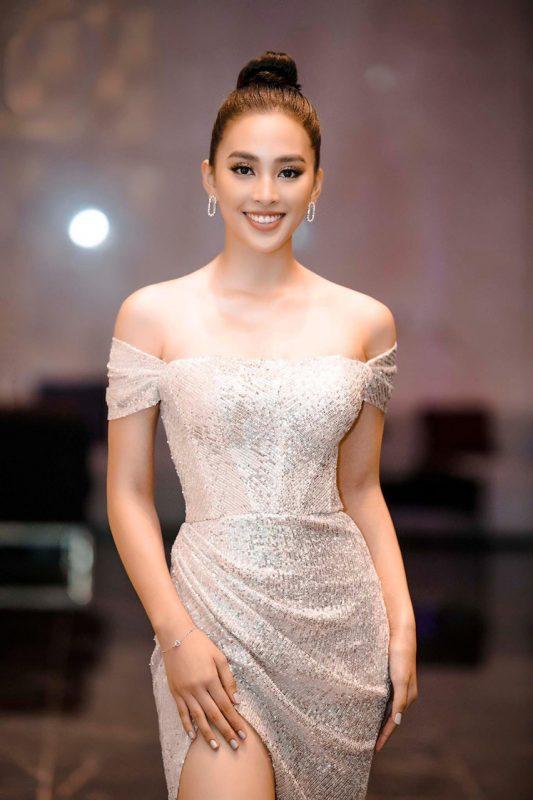 Váy dạ hội kim sa trắng trễ vai xẻ đùi cao siêu tôn dáng - D483