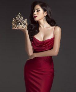 Đầm dạ hội thiết kế hai dây cúp ngực cổ đỗ quyến rũ - D487