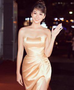 Váy dạ hội cúp ngực nhún eo xẻ đùi cao sexy - D486