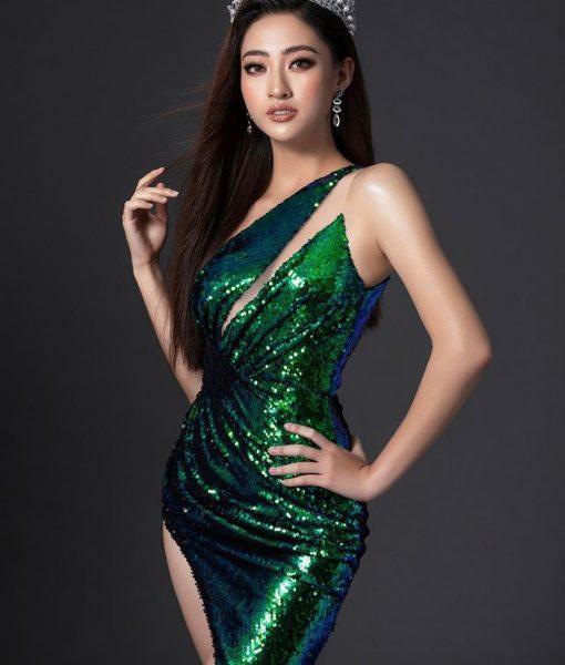 Đầm dạ hội kim sa lệch vai xẻ đùi cao sang trọng - D490