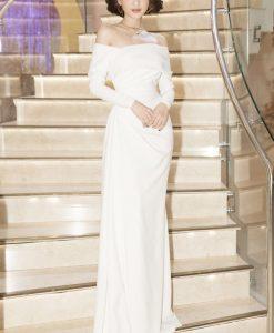 Đầm dạ hội trắng dài tay bẹt vai đơn giản - D496