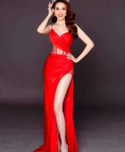 Váy dạ hội đỏ xẻ đùi cao sexy ôm dáng - D494