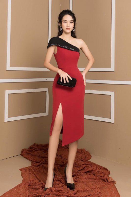 Đầm dự tiệc cao cấp thiết kế lệch vai xẻ đùi cao tôn dáng - DN489