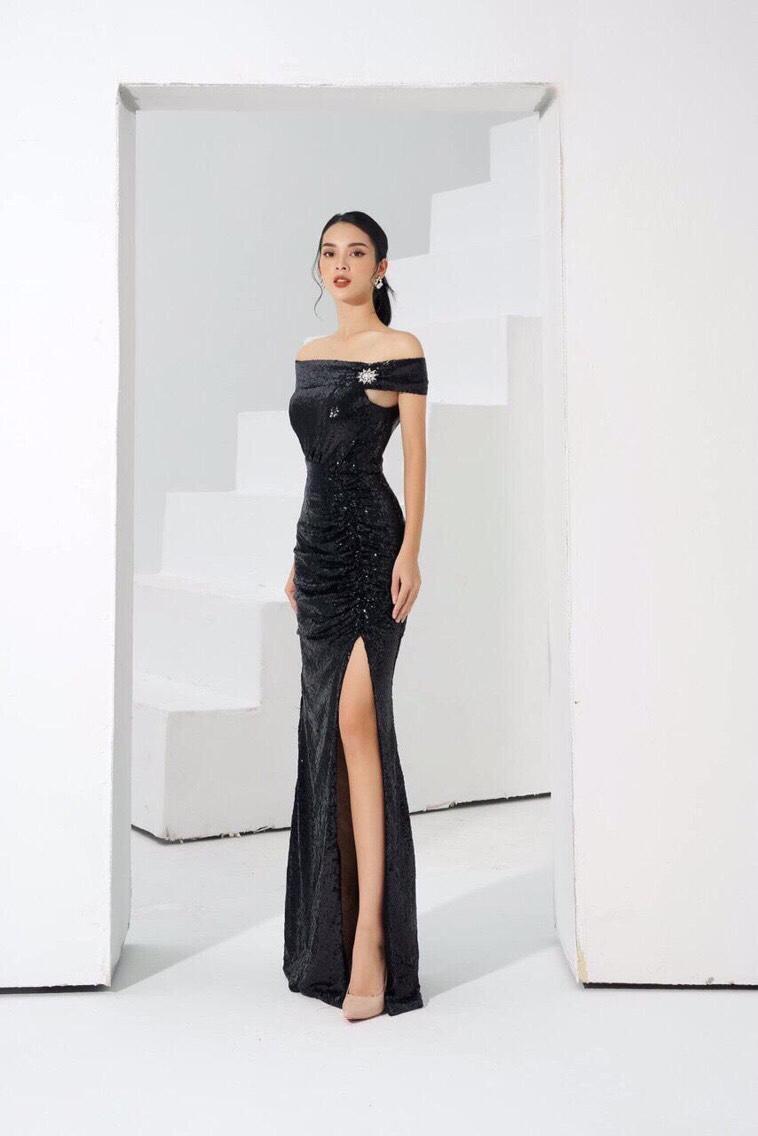 Đầm dạ hội kim sa bẹt vai xẻ đùi cao ôm dáng - D524