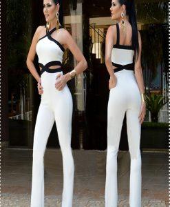 Jumpsuit hai màu cổ yếm hở eo tôn dáng - J120