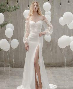 Váy dạ hội trắng cúp ngực phối ren quyến rũ - D536