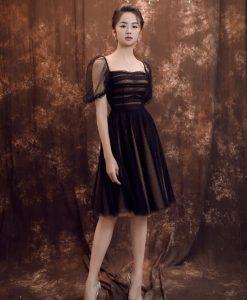 Váy xòe dự tiệc đen phối lưới sang trọng - DN485