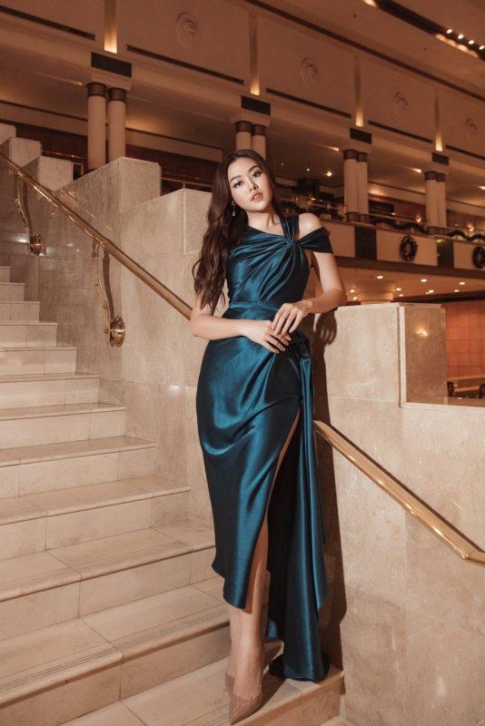 Đầm dạ hội thiết kế trễ vai sang trọng quý phái - D501