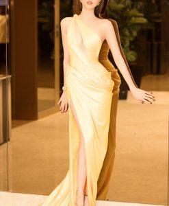 Đầm dạ hội kiểu lệch vai xẻ ngực phối lưới - D502
