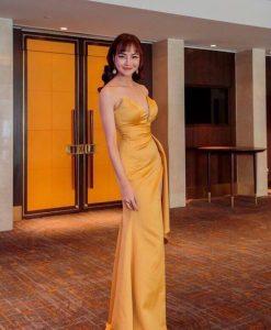 Đầm dạ hội cao cấp thiết kế bẹt vai xẻ đùi cao siêu quyến rũ - D538