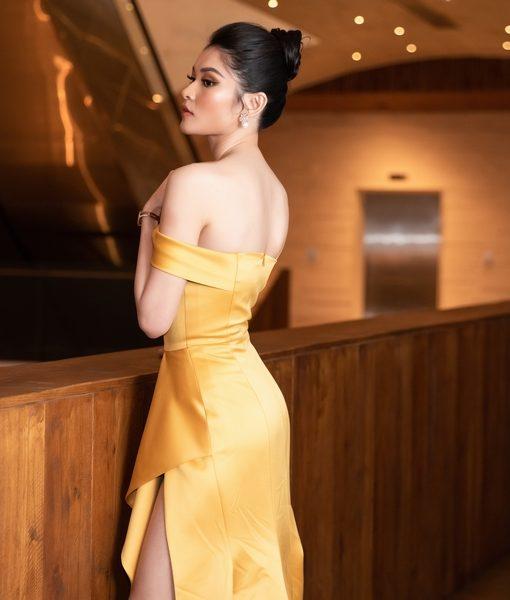 Đầm dạ hội đẹp thiết kế lệch vai ôm body tôn dáng - D540