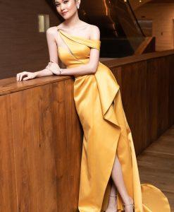 Đầm dạ hội trẻ trung thiết kế lệch vai ôm body tôn dáng - D540