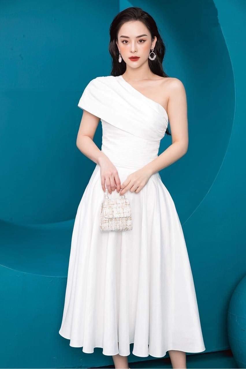 Đầm xòe dự tiệc cưới thiết kế lệch vai dễ thương - DN446