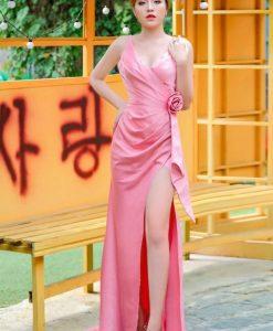 Váy dạ hội dài hai dây thiết kế xẻ đùi cao khoe dáng - D539