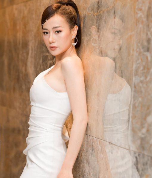 Đầm dạ hội dài thiết kế lệch vai tay phồng sang trọng - D541