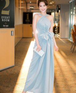 Đầm dạ hội cổ yếm đính nơ eo siêu dễ thương - D563
