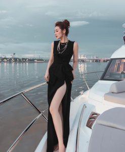 Đầm dạ hội đen thiết kế đính nơ eo xẻ đùi cao - D565
